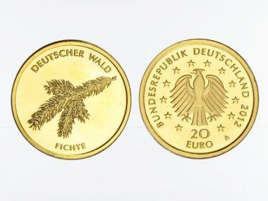 BRD 20 Euro Gold, 2012 J,  Deutscher Wald Fichte