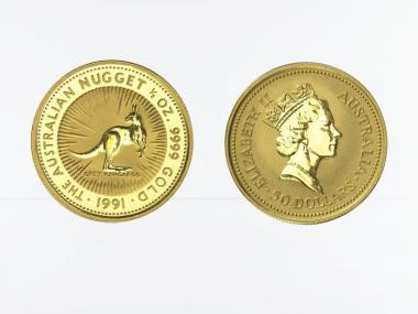 Australien 50 $ Nugget Känguru, 1/2 Unze  1991