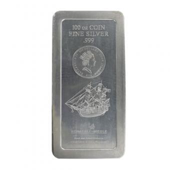 Cook Islands 100 $. Bounty, 100 oz Silber, Neu