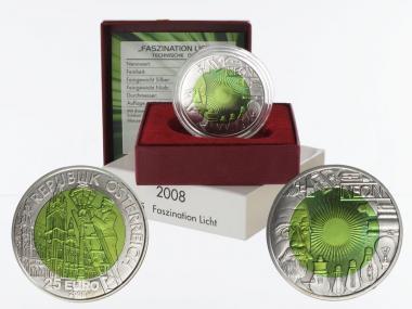 Österreich 25 Euro Niob, Faszination Licht 2008