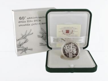 Vatikan 5 € 60 Jahre Frieden 2005 PP, Silber