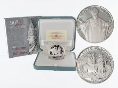 Vatikan 5 € Migranten 2010 PP, Silber