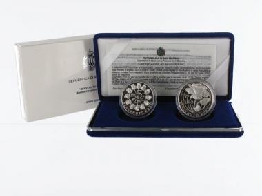 San Marino 5+10 € Willkommen Euro 2002 PP, Silber