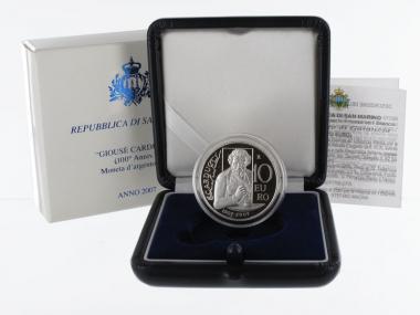 San Marino 10 € Giosue Carducci 2007 PP, Silber