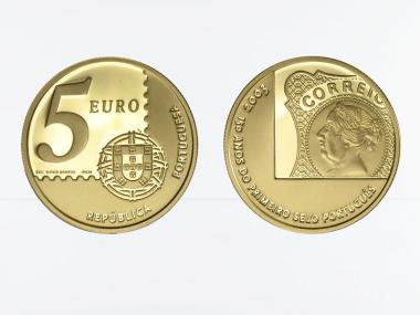 Portugal 5 Euro Gold, 2003, 150 J. Briefmarken