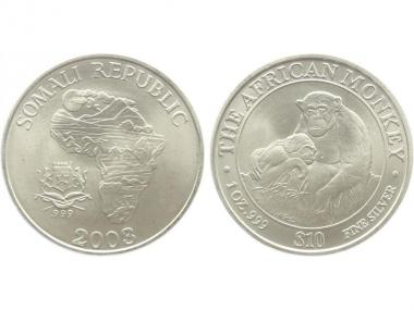Somalia 10 $  Affe  2003, 1 Unze
