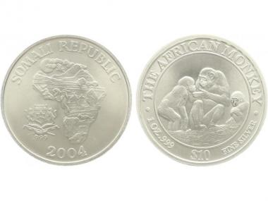 Somalia 10 $  Affe  2004, 1 Unze