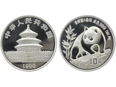 China 10 Yu Panda  1990 (Typ 1), 1 oz  Silber