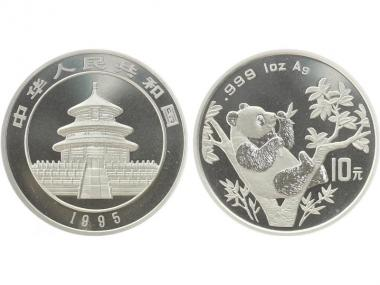China 10 Yu Panda  1995 (Typ 1), 1 oz  Silber