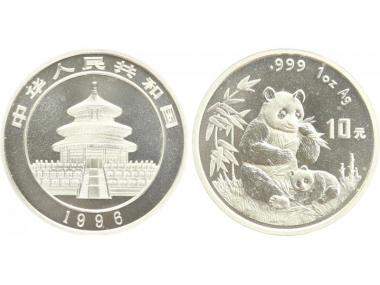 China 10 Yu Panda  1996 (Typ 1), 1 oz  Silber