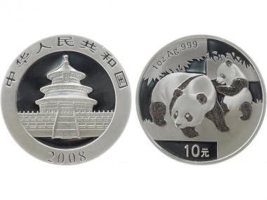 China 10 Yu Panda  2008, 1 oz  Silber