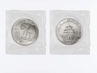 China 10 Yu Panda  1993 (Typ 1), 1 oz  Silber Folie