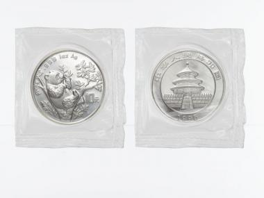 China 10 Yu Panda  1995 (Typ 2), 1 oz  Silber Folie
