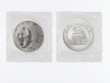China 10 Yu Panda  2002, 1 oz  Silber Folie