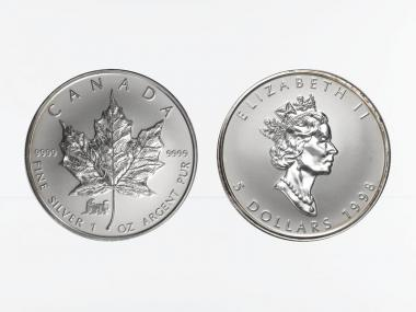 Kanada 5$ Maple Leaf 1998, Privy Mark  Tiger