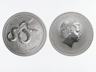 Australien 1$ Schlange Lunar II  2013, 1 oz  Silber
