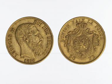 Belgien Leopold II  1870, 20 Francs Gold (A)