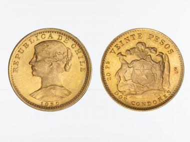 Chile 20 Pesos Freiheitskopf 1959