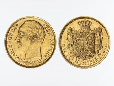 Dänemark Frederik VIII 1908, 10 Kroner Gold