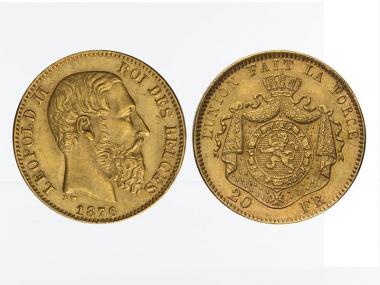 Belgien Leopold II  1876, 20 Francs Gold (A)