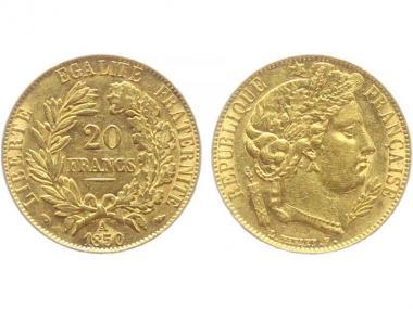 Frankreich 20 Fr. Ceres/ Kranz 1850 (A) Paris