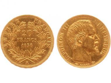 Frankreich 20 Fr. Napoleon III/ Kranz 1858 (A) Paris