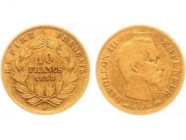Frankreich 10 Fr. Napoleon III/ Kranz 1858 (A) Paris