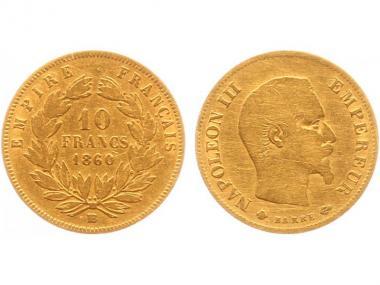 Frankreich 10 Fr. Napoleon III/ Kranz 1860 (BB)