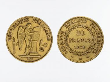 Frankreich 20 Fr. Genius stehender Engel 1878