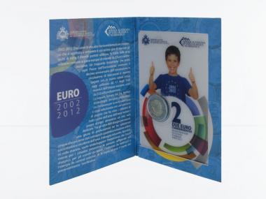 San Marino 2 Euro Münze, 2012, 10 J. Euro im Folder