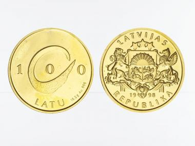Lettland 100 Latu Wappen Gold, 1998, proof