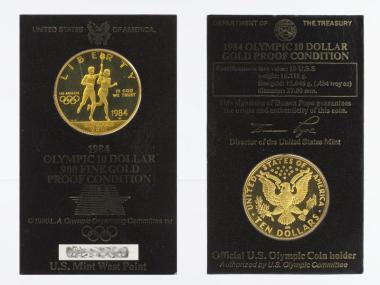 USA 10 $  Gold, Fackelläufer 1984 (W) im Folder, PP