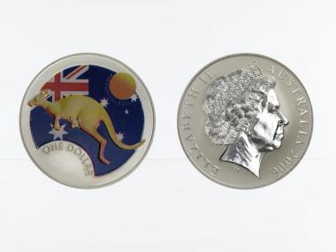 Australien 1$ Känguru 2006 farbig, 1 oz  Silber