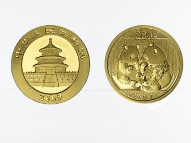 China 200 Yu  Panda 2009, 1/2 Unze Feingold
