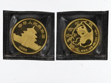 China 100 Yu  Panda 1985, Rotflecken, 1 Unze Feingold