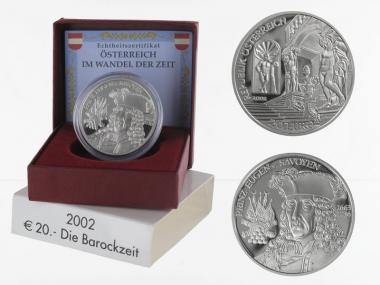 Österreich 20 Euro Silber, 2002, Barockzeit PP