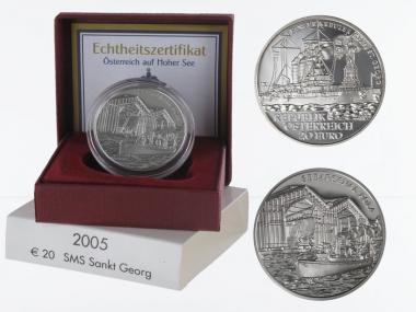 Österreich 20 Euro Silber, 2005, SMS Sankt Georg PP