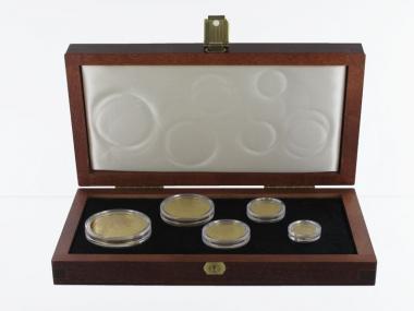 Singapur Löwe Münzset 2001 proof (5), 1/20oz -1oz Gold kpl.