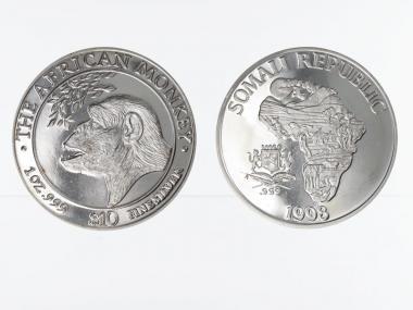 Somalia 10 $  Affe  1998, 1 Unze