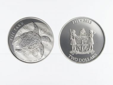 Fiji Taku 2 $  Schilkröte  2013, 1 Unze