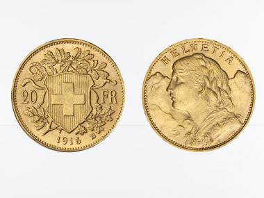 Schweiz 20 Franken Vreneli Goldmünze 1915