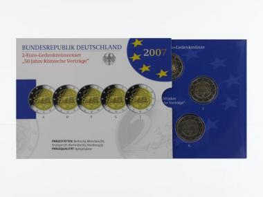 2007 Römische Verträge (5) A D F G J kpl. PP, Faltblister