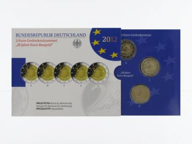 2012 10 Jahre Euro (5) A D F G J kpl. PP, Faltblister