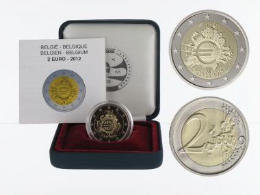 Belgien 2 € 10 J. Euro Bargeld, 2012 PP in Originalbox