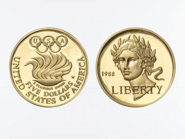 USA 5 $  Gold, Olympia 1988 (W), PP