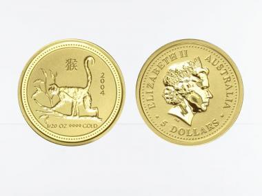 Australien 5 $ Lunar I Affe, 1/20 Unze  2004