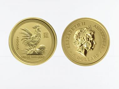 Australien 5 $ Lunar I Hahn, 1/20 Unze  2005