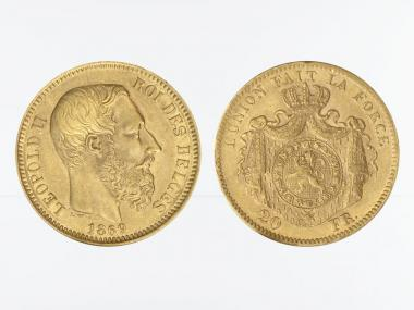 Belgien Leopold II  1869, 20 Francs Gold (A)