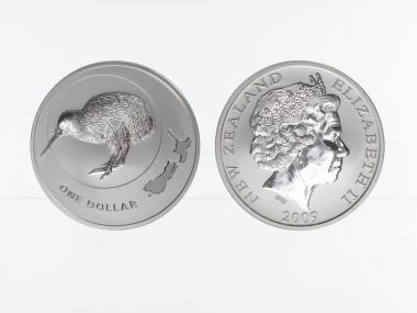 Neuseeland 1$ Kiwi 2009, 1 oz  Silber
