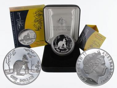 Australien 1$ Känguru 2007, 1 oz  Silber proof (B+C)